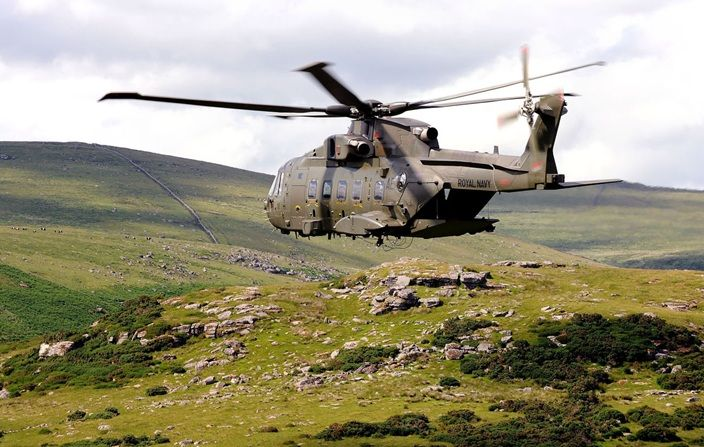 Commando Helicopter Force Merlin MK3A Helicopter from 846 Naval Air Squadron training with Royal Marines from 42 Commando.