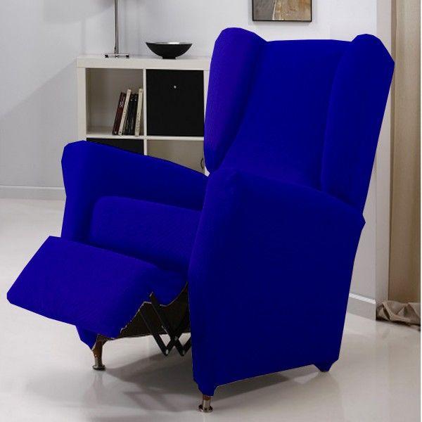 Funda Sofá Relax color Azul Eléctrico modelo Túnez, funda relax compuesta por 4 piezas, funda para sofá relax de 1 plaza que mida de 70 a 110 cm.
