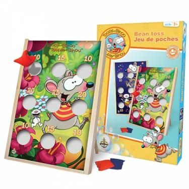 Toopy and Binoo Bean Toss Game The aim of the game is to be the first to score a predetermined number of points by throwing sandbags through the holes on targets on the front of the game board.