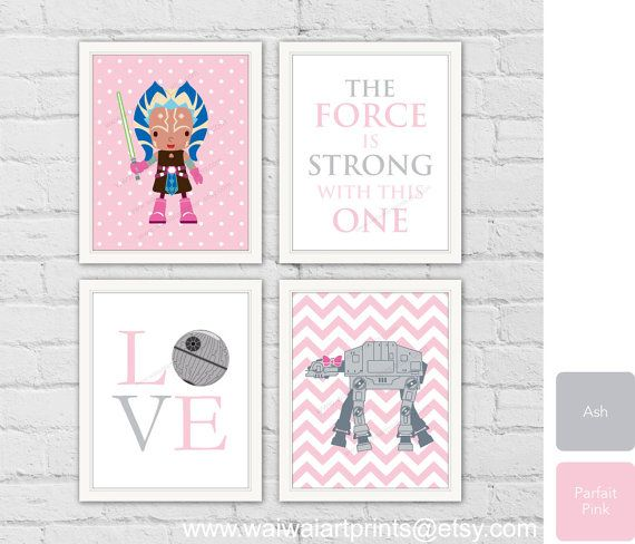 Nursery Art Print. Star Wars Poster, Room Decor, Ahsoka. AT-AT. Girls Bedroom Decor. Gift for Girl. Children Playroom Decor. Item No.: 072