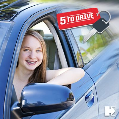 "Teens, remember these ""5 to Drive"" rules when behind the wheel: 1. Don't drink and drive. 2. Buckle up. Every trip. Every time. 3. Put it down; 1 text or call could wreck it all. 4. Stop speeding before it stops you. 5. Bring only 1 passenger with you."