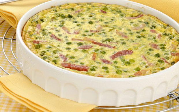 Clafoutis de petits pois, jambon et Kiri WW,recette d'un clafoutis salé, et léger, très facile à réaliser et idéal en entrée ou en plat principal accompagné d'une bonne salade.