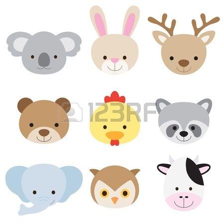 Vector illustration de l'animal face notamment koala, lapin, cerf, l'ours, le poulet, le raton laveur, un éléphant, hibou, et la vache