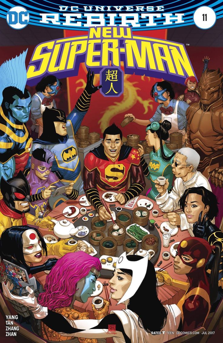 When DC's Asian superheroes got together for dim sum! Artist Bernard Chang celebrates #AsianHeroesMonth on his variant cover for 'New Super-Man' #11.