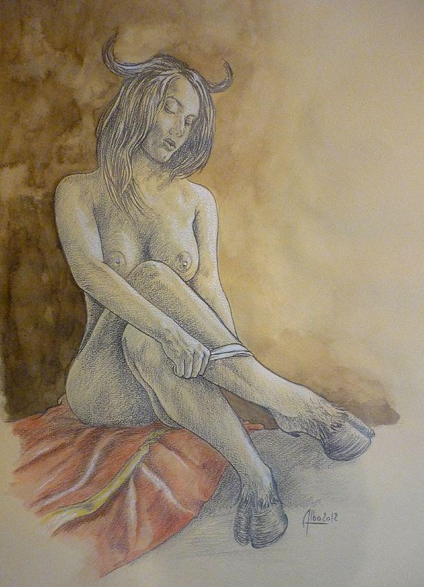 """série """" toréras """" mine graphite et café sur papier 36 x 48 cm."""