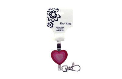 Pink Heart Shaped Hand Bag Clip Keychain