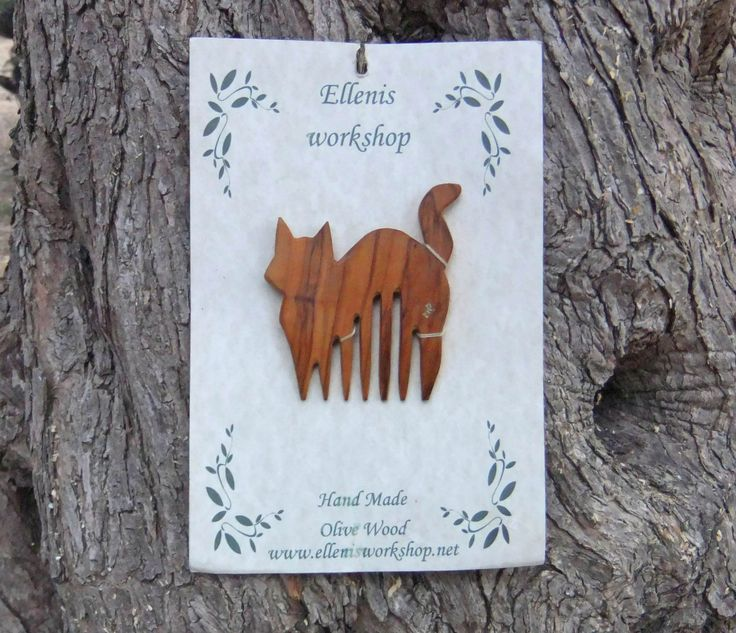 Cat Hair Comb, Hand Carved From Greek Olive Wood by ellenisworkshop on Etsy
