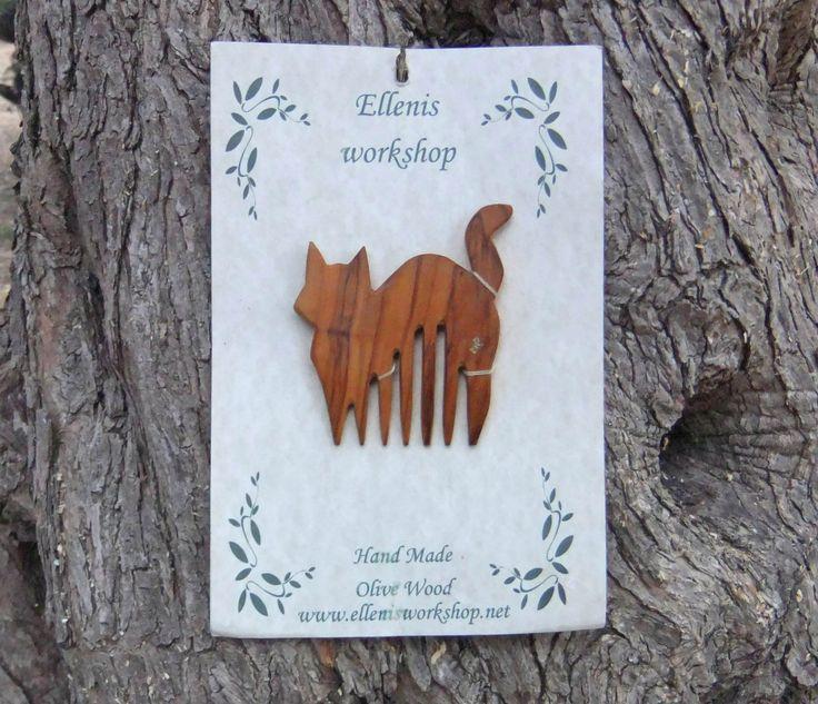 Cat Hair Comb, Hand Carved From Greek Olive Wood by ellenisworkshop on Etsy