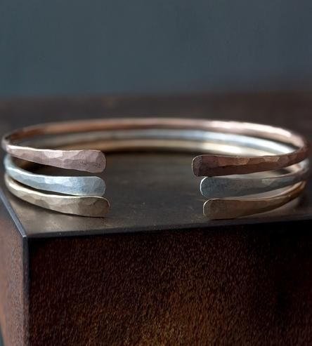 Hammered Open Cuff Bracelet by Alexis Russell on Scoutmob Shoppe                                                                                                                                                      More