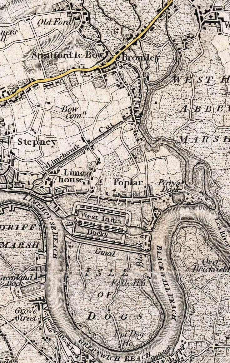 1801 Ordnance Survey Map including The Isle of Dogs, an area in the East End of London that is bounded on three sides (east, south and west) by one of the largest meanders in the River Thames.