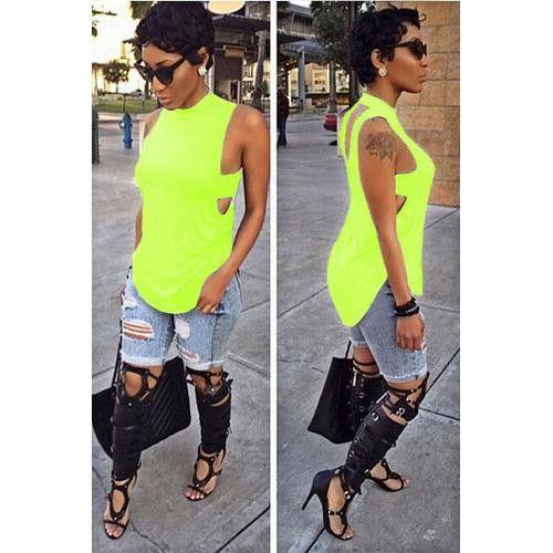 Hot Sale Summer Stylish Fluorescence Green Offbeat Hollow Out Sleeveless T-Shirts