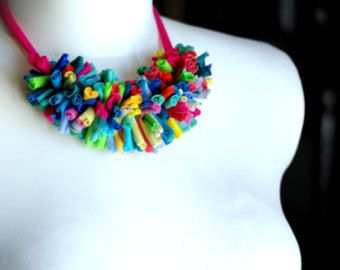 Rayas de collar/morado-azul-caqui-cal/reciclado/hecho por cirrhopp