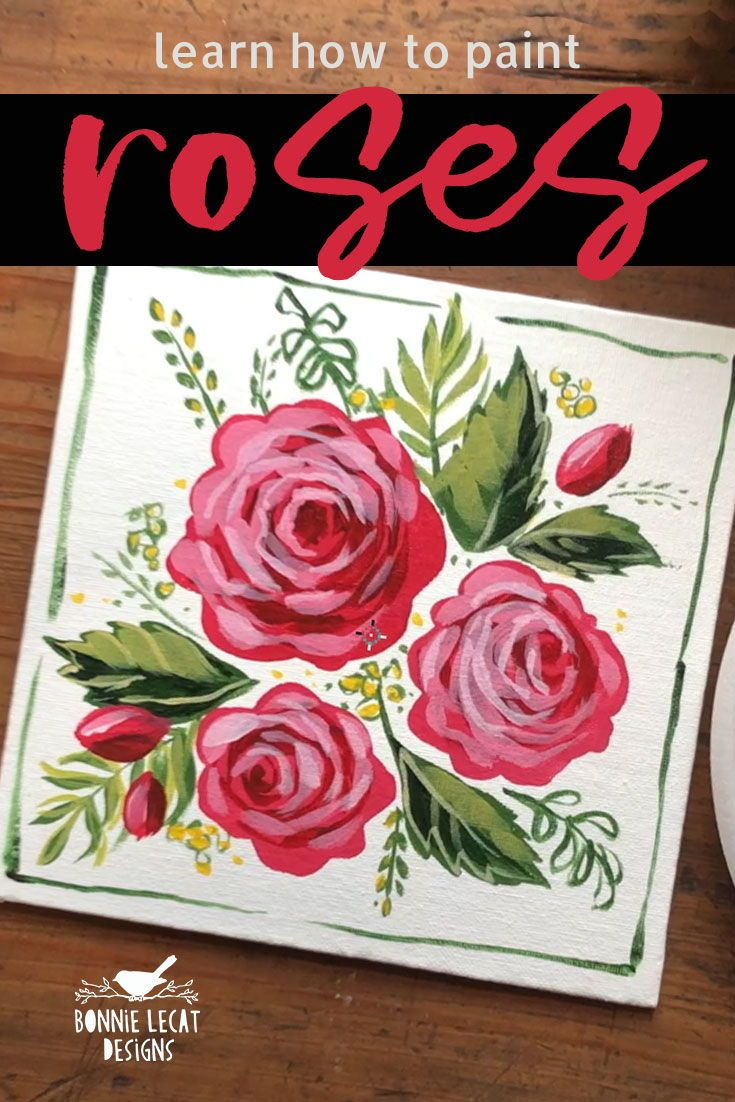 How To Paint Quick And Easy Roses With Acrylic Paints Https Skl