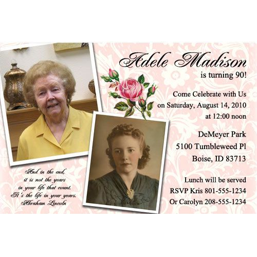 Milestone Birthday Party Invitations 90th 100th 75th Invitation Digital Or Printed