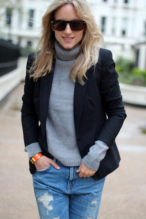 layering a turtleneck under a blazer