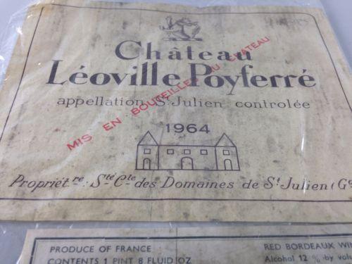 Vintage-Chateau-Leoville-Poyferre-Wine-Label-1964-Ships-Free