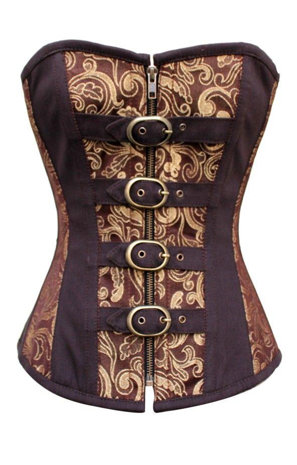 marrone corsetto broccato con fibbie   Corsetti Steampunk   Abbigliamento Steampunk
