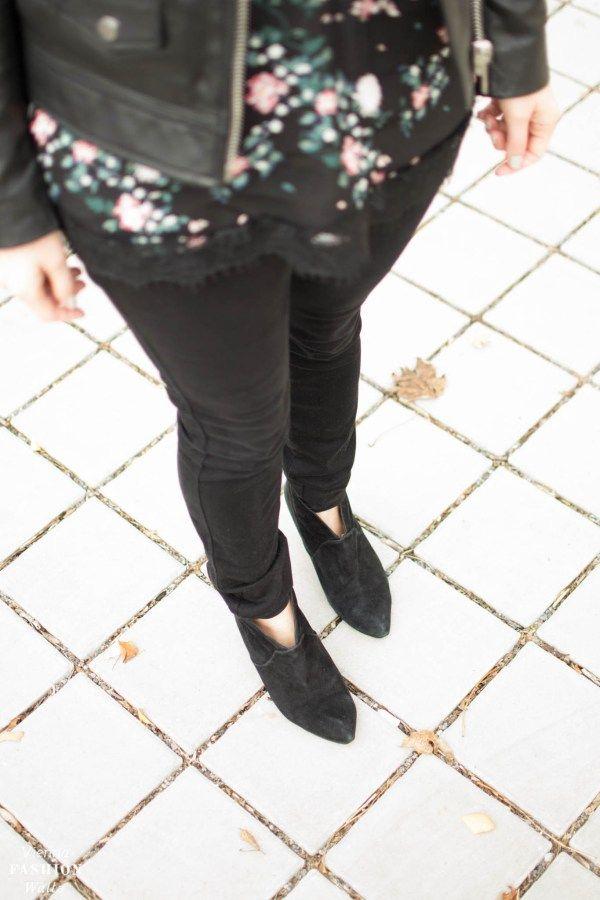 How to wear Florals for Winter with a biker jacket | Lederjacke im Bikerstil|Only Blumenshirt|Closed Jeans|Peek&cloppenburg