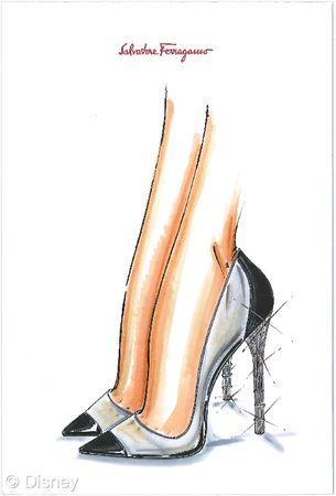 """Salvatore Ferragamo """"La magia de un zapato que convierte a una mujer en una princesa y le da la sensación de caminar sobre las nubes es un sueño universal.  Un moderno cuento de hadas de Cenicienta de redescubrir una sensualidad suave y una poderosa feminidad.  Un zapato hecho de la transparencia y de la luz: el talón de la jaula, un símbolo icónico de Salvatore Ferragamo, está cubierta con cristales de Swarovski y es transformada por el chispear impalpabilidad """"-Massimiliano Giornetti…"""