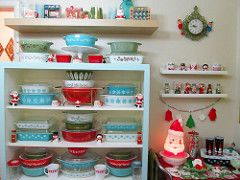 Dining Room Vintage Christmas Display for 2014