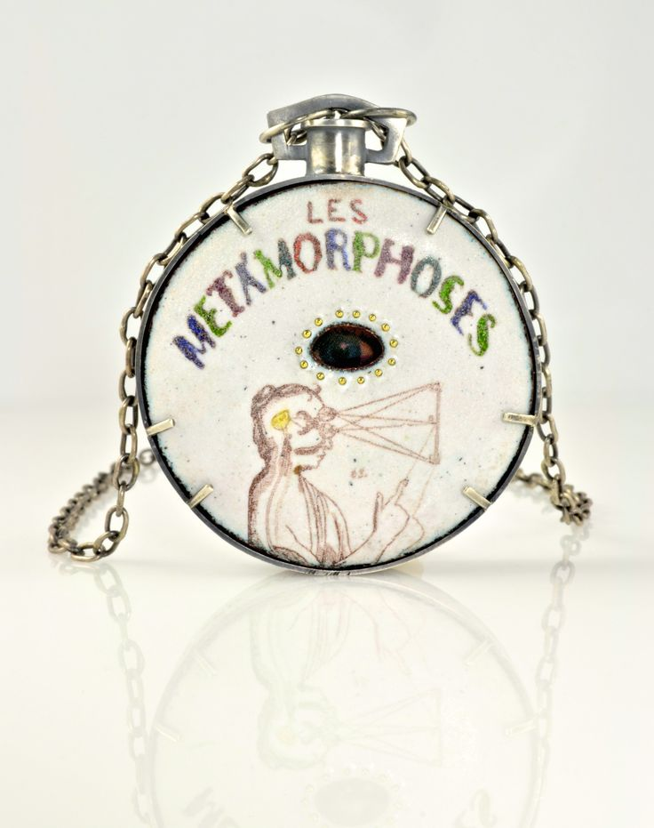 Metamorphosis: Toy for a new Paradigm; copper, silver, 18k, vitreous enamel, vintage lenticular; handmade chain; 2016