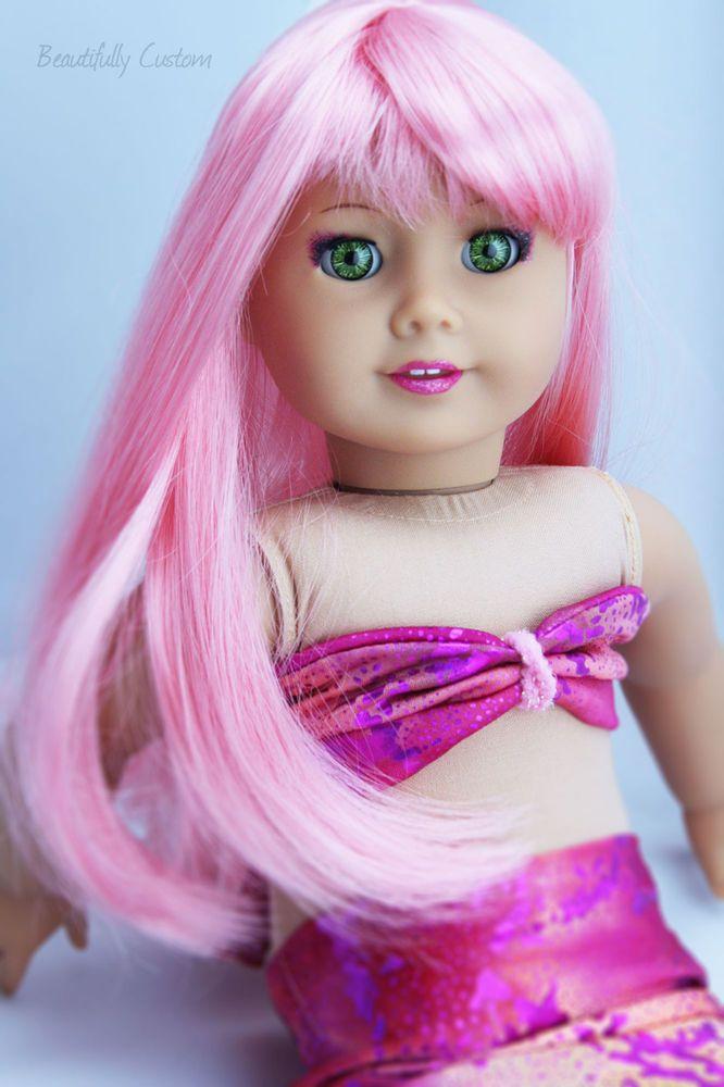 custom ooak american girl doll mermaid pink hair bright green eyes bright green pink hair. Black Bedroom Furniture Sets. Home Design Ideas