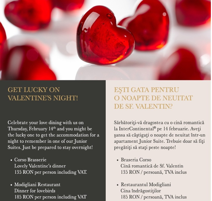 Valentine's Day la hotel Intercontinental Bucuresti