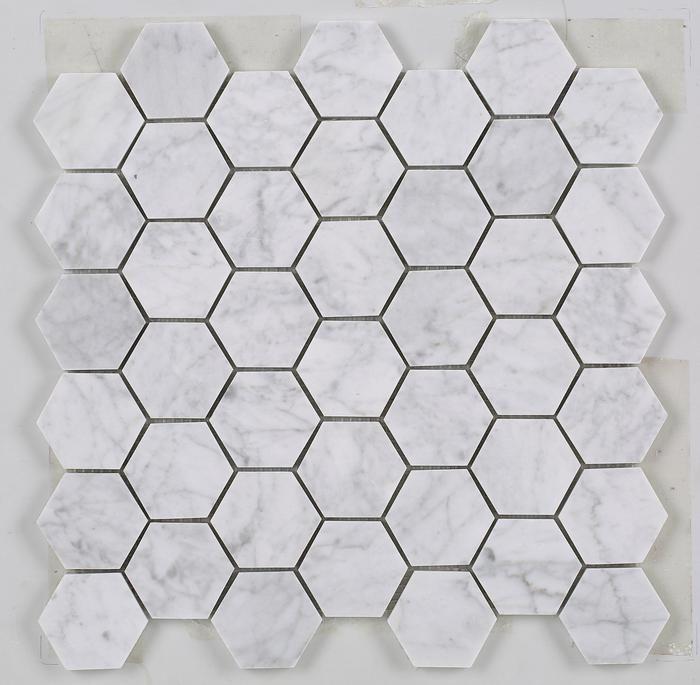 Carrara White Marble Arabesque Mosaic Tile Honed Marmorfliesen
