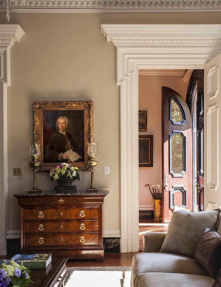 charleston home design%0A Charleston  Traditional  Living room  Images by SLC Interiors  Love the  door in the foyer  Beautiful wall colors and chest of drawers