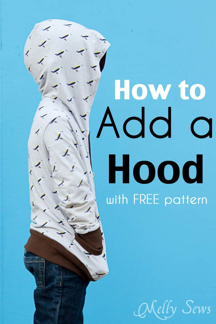 How to add a hood to a shirt or sweatshirt - with FREE pattern - Melly Sews