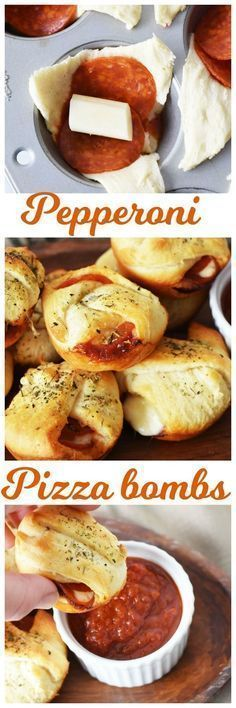 Pepperoni pizza bombs. These look delicious!!