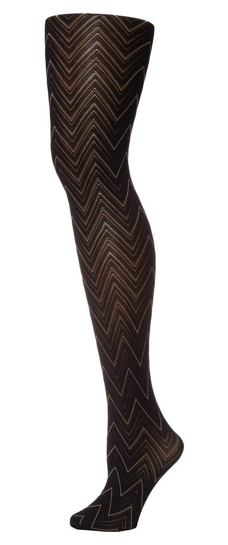 Pretty Polly Chevron Tights (Black Mix) Hose - Pretty Polly, Chevron Tights, PNAUJ4-002, Hosiery Hose General, Hose, Hose, Hosiery, Gift - Outfit Ideas And Street Style 2017