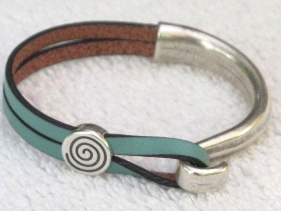 Bianchi Celeste Leather Wrap Bracelet with Antique Silver Hook unique elegant  Bicycle Accessory