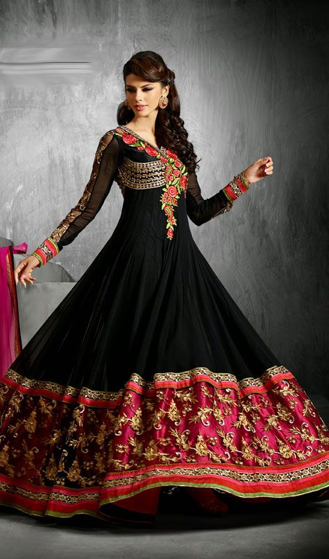 Black Embroidered Georgette Floor Length Anarkali Suit Price: Usa Dollar $135, British UK Pound £80, Euro100, Canada CA$147 , Indian Rs7290.