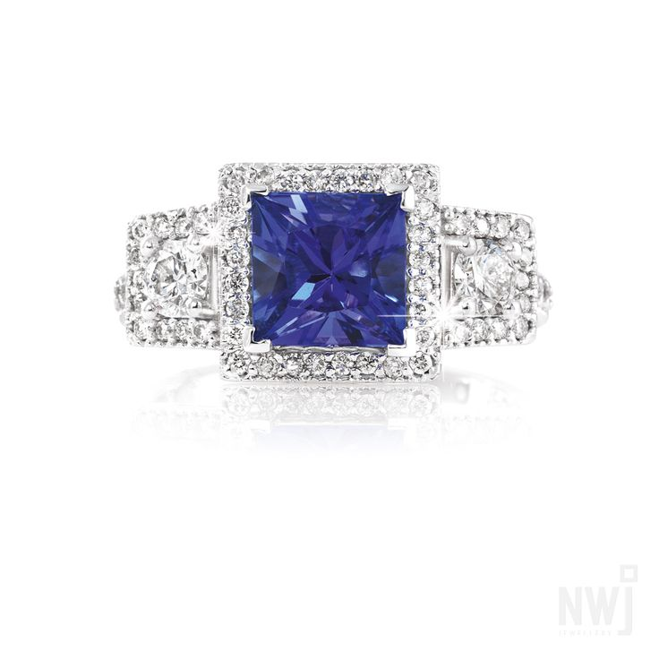 Diamond Collection: Hand Crafted 18ct White Gold Ring With Diamonds and Tanzanite By NWJ *Valid for 2013