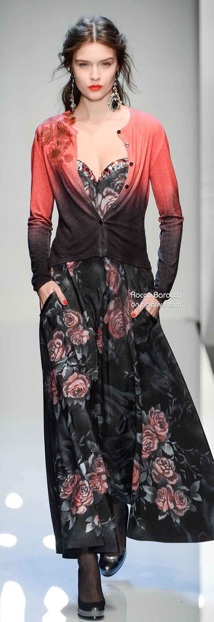 Roccobarocco Fall Winter 2013-14 Ready to Wear Milan | Liking the palette, the cardi over maxi dress, the ombre of the cardi itself -- totally wearable, drs Ess it down or up!