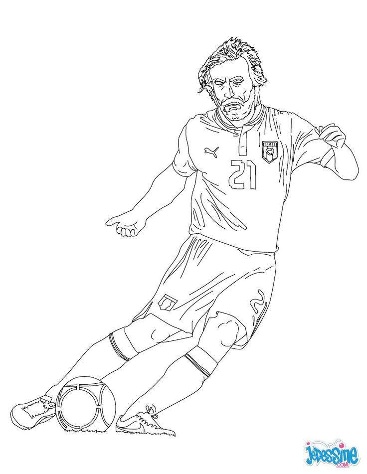 Coloriage du joueur de foot Andrea Pirlo. À imprimer gratuitement ou colorier en ligne sur ...