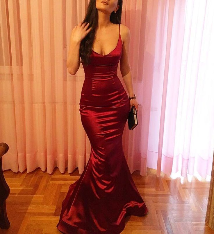 Sexy Dark Red Spaghetti Straps Satin Mermaid Evening Dresses, Beautiful V-neckline Formal Gowns, Prom Dresses