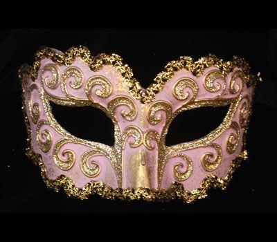 Riccioa Rosa e Oro  V08 - Maschera originale veneziana realizzata a mano in cartapesta, colori acrilici, glitter e decorata con passamaneria.
