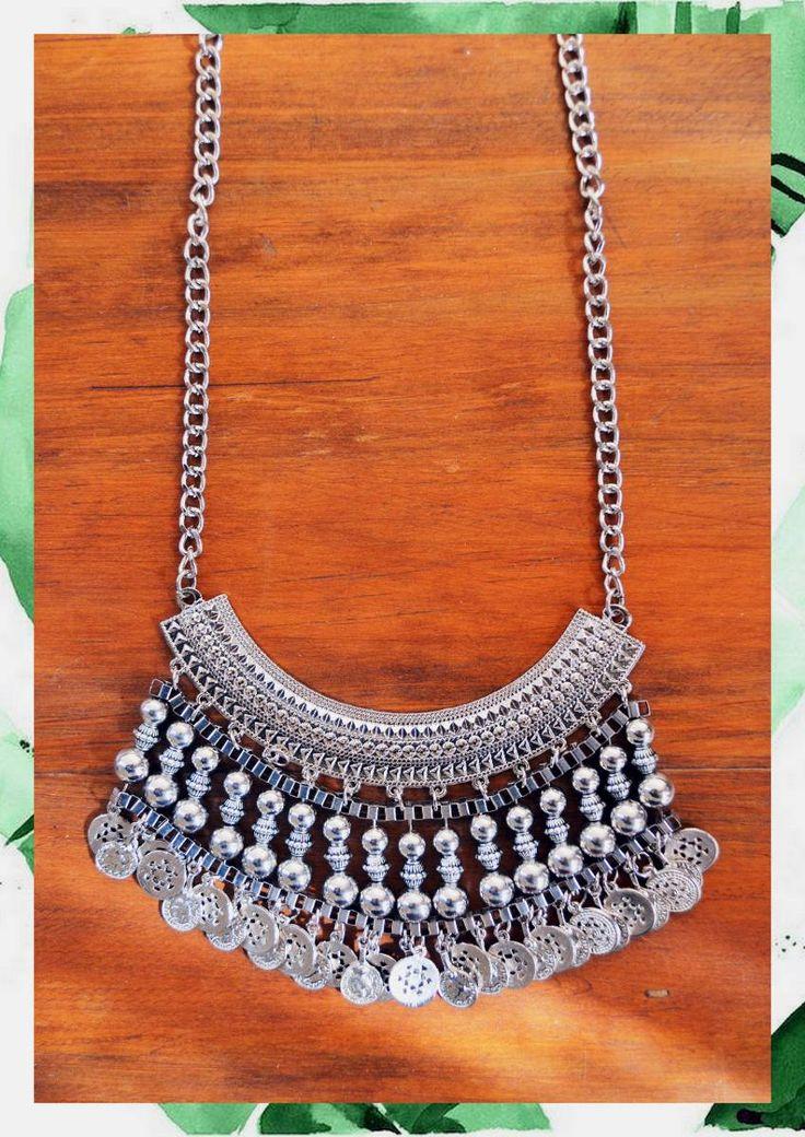 Pechera Plateada Collar Gypsy Boho Medallas Monedas - $ 405,00 en MercadoLibre