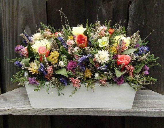 Dried Flower Arrangement in a Wood Planter Box