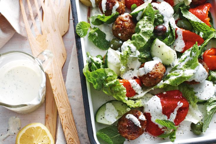 Greek lamb meatball salad - from Delicious and it is delicious!