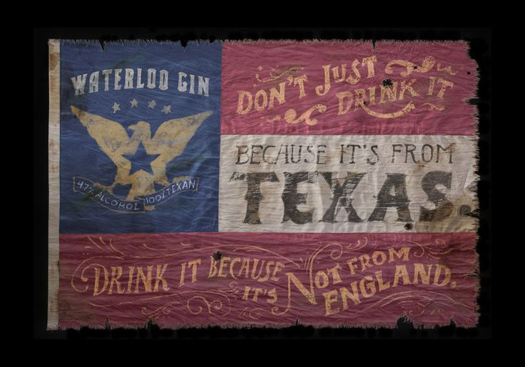 Waterloo Gin Illustrated and hand-lettered custom treated flags for Texas-based gin brand, Waterloo Gin. Jon Contino.