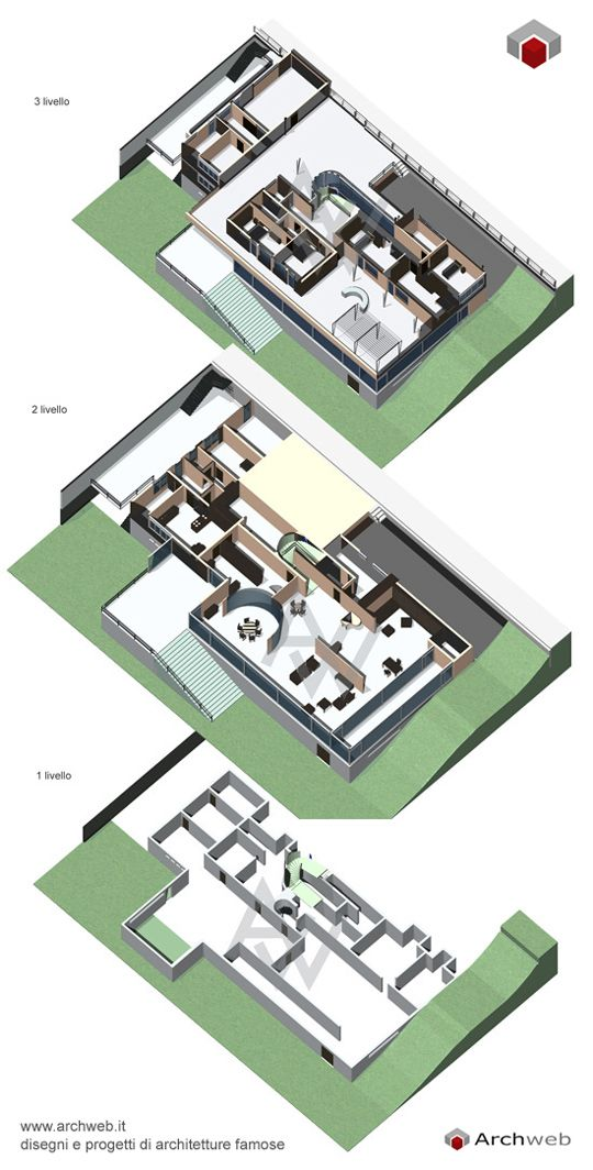3D Split Axonometric : Villa Tugendhat, Brno, Czech Republic | Ludwig Mies van der Rohe | Archweb