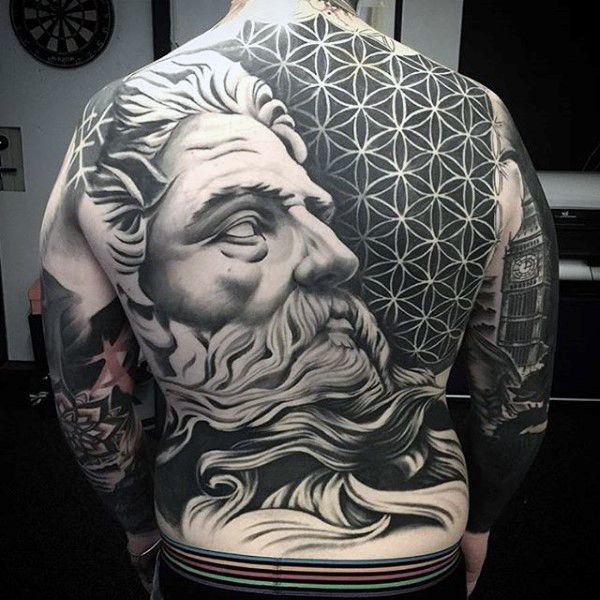 Greek God full back tattoo.