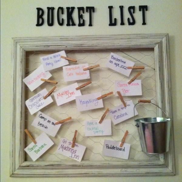 Probably gonna use this idea for a dream board! Pin my dreams and goals and put them in the bucket as I reach them.                                                                                                                                                      More