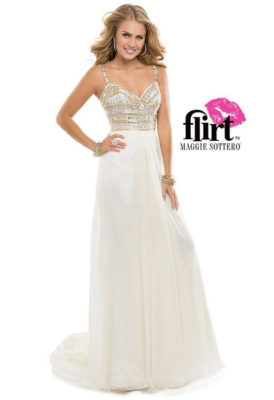 Make your grand entrance in this flirty chiffon dress with stacked sparkle on the bodice! | FLIRT #prom #dress #gold