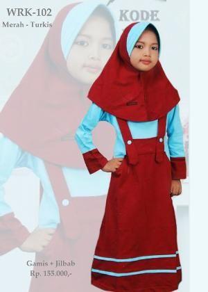 Baju Gamis Anak Perempuan WRK-102 Merah