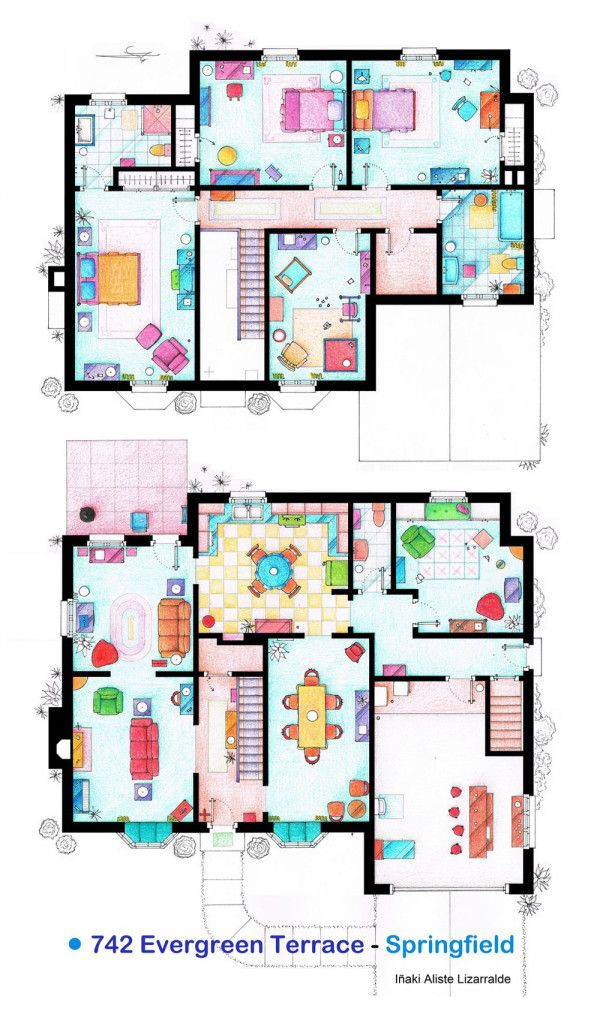 Spanish artist and interior designer Iñaki Aliste Lizarralde draws these famous house and apartment floor plans as a hobby, giving the TV viewer a new perspective on the homes in which our cherished characters reside. This is The Simpson's house.