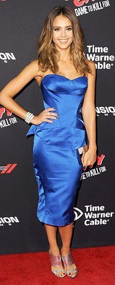 Vestito blu versace jessica alba zac